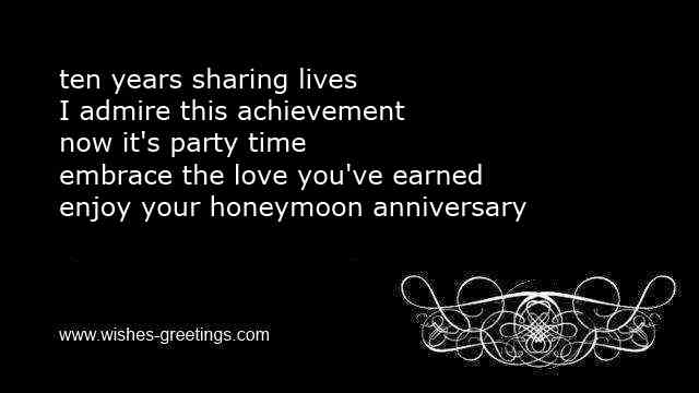 short 10th marriage aniiversary greetings
